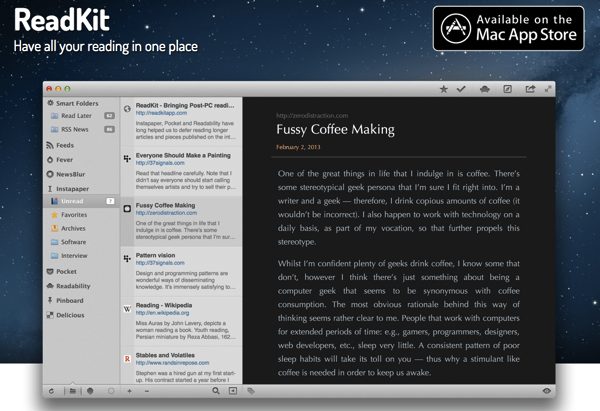 Mac専用RSSリーダーReadKitがセール中!即買ってみた!