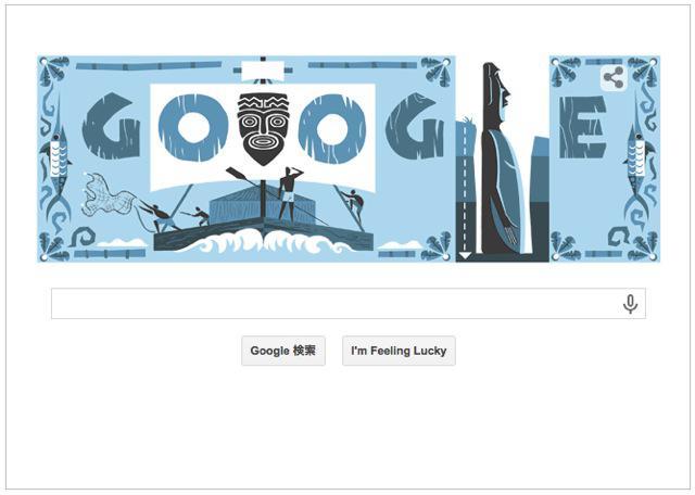 本日(2014年10月6日) Googleロゴ人類学者・探検家『トール・ヘイエルダール生誕100週年』仕様に!