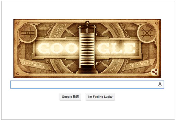 本日(2015年2月18日)Googleロゴ『アレッサンドロ ボルタ 生誕 270 周年』仕様のアニメーションロゴに!