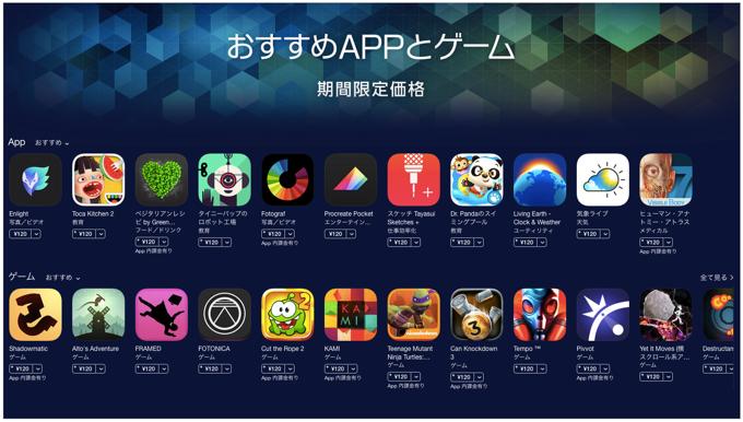 Apple AppStore「おすすめAPPとゲーム」対象アプリが期間限定価格120円となるセール実施中!