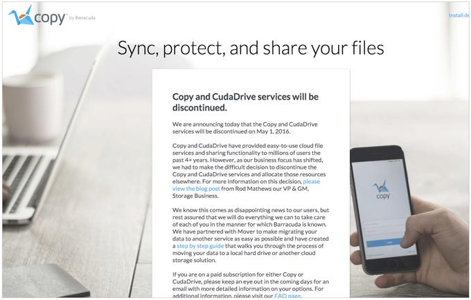 オンラインストレージサービス「Copy」が2016年5月1日をもって提供終了に